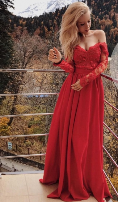Sexy Off The Shoulder Prom Dresses  Long Sleeve Red Lace  Formal Evening Gown