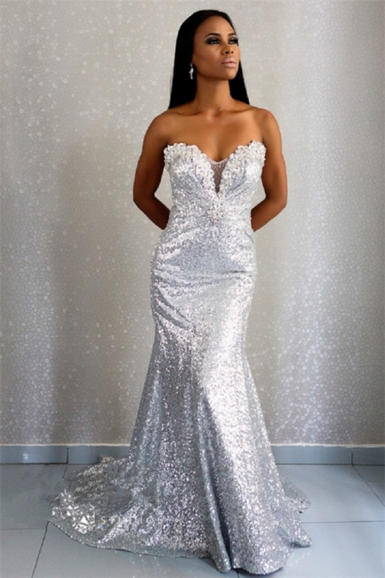 Sweetheart Silver Sequins Evening Dresses  Mermaid Crystals Prom Dress