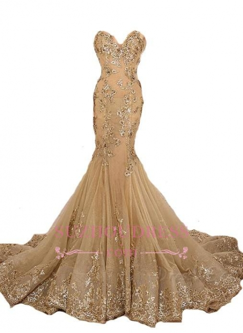 Mermaid Long Evening Gown Gold Lace Appliques Gold Lace-Up Sweetheart  Prom Dresses LY173