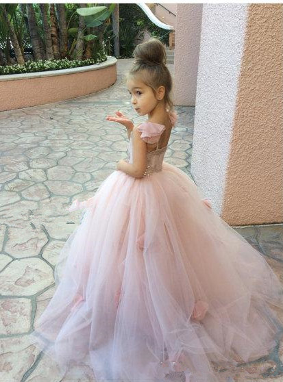 Cute Pink Tulle Flower Girl Dress New Arrival Long Children Dresses BA1419