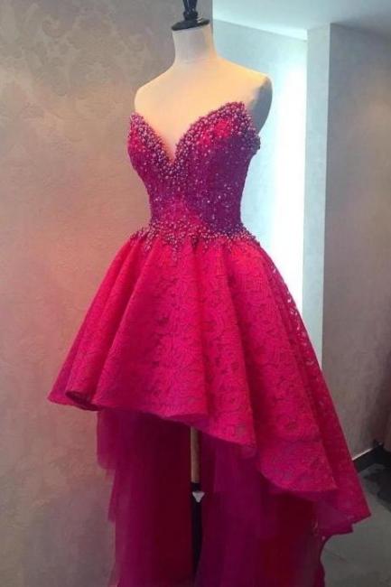 Fuchsia Beaded Lace Hi-lo Formal Evening Dresses V-neck  Homecoming Dresses Online
