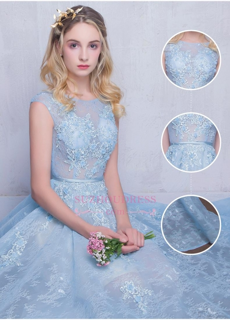 A-line Long Sky Blue Evening Dress  Lace Appliques Sheer Puffy Fairy Prom Dresses