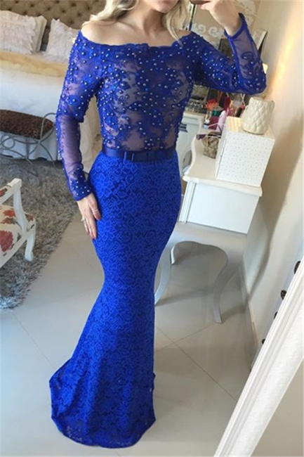Mermaid Beading Lace  Evening Gown Long Sleeve Open Back Party Dresses