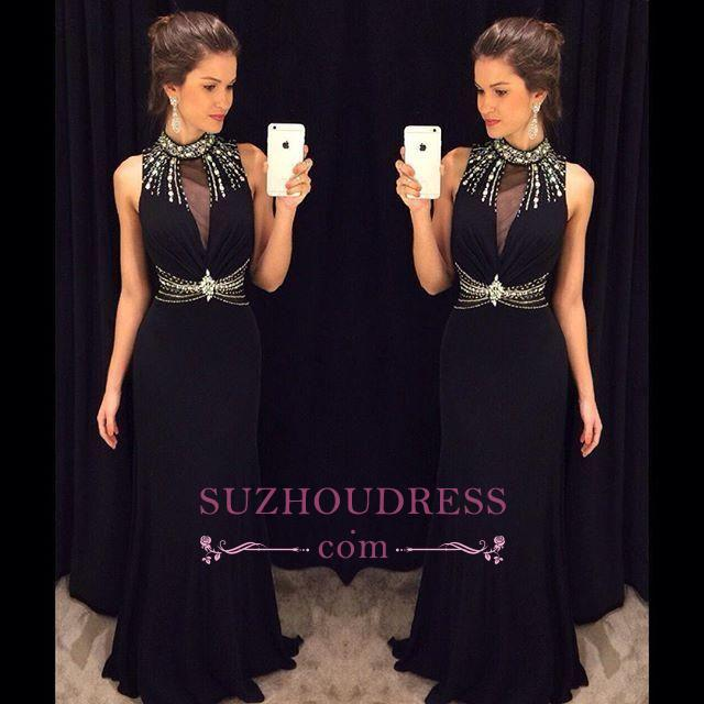 Long Black Crystal Sleeveless Sheath Natural High Neck Prom Dresses