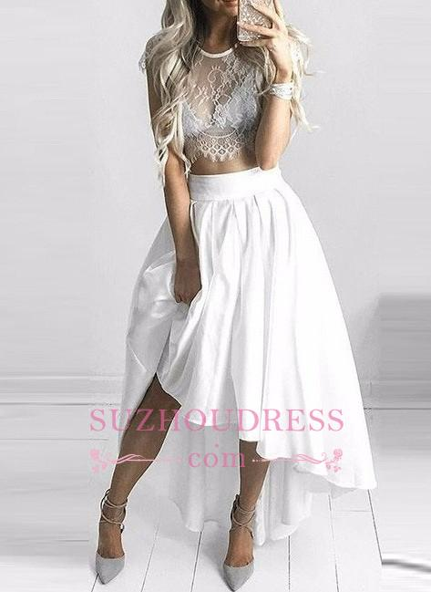Two Piece White Hi-Lo Formal Dress  Lace Capped Sleeves Sexy Prom Dresses BA6137