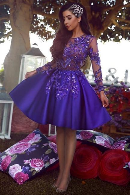 Beads Appliques Sheer Tulle Regency Homecoming Dress  | Long Sleeve Popular Short Evening Dress 2019
