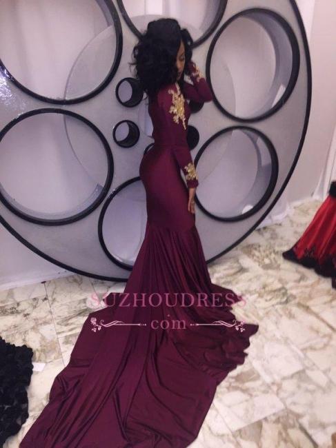 Gold Appliques Burgundy Mermaid Evening Dress High Neck Long Sleeves  Prom Dresses qq0103
