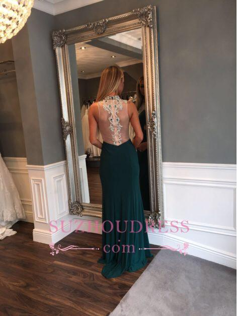 Sexy Mermaid High Neck Evening Gowns  Crystal Front Split Prom Dress