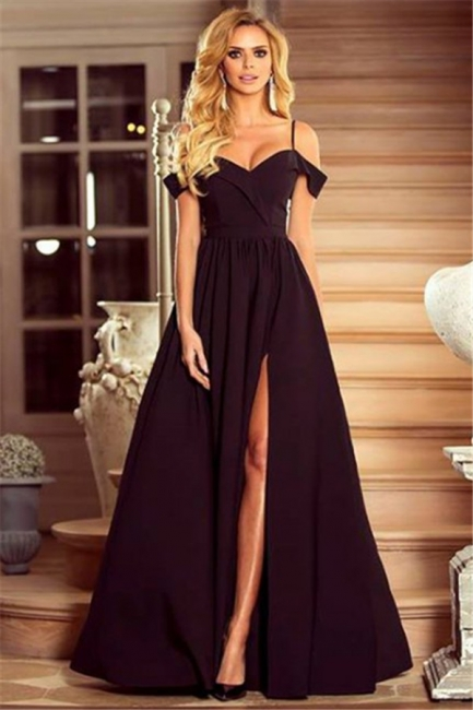 Spaghetti Straps Black Formal Dresses   Sexy Split Long Evening Gown BA7614