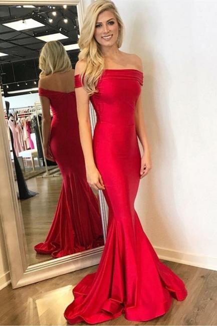 Simple Red Mermaid Off Shoulder Evening Dresses | Sweep Train Ruffles Ball Dresses
