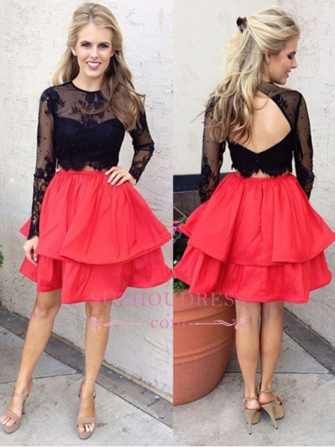 Chic  Red Black Lace Long Sleeves Two-Piece A-line  Homecoming Dresses