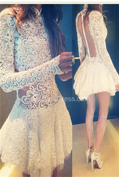 White Prom Dresses  Short High Neck Long Appliques Sleeve Fall Lace See Through Zipper Sexy Evening Gowns BO6427