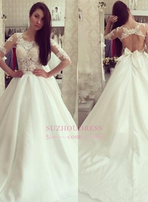 Bow A-line Sweep-train  Half Sleeves Elegant Sweep-train Wedding Dress