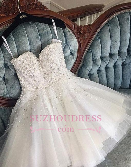White Spaghetti Straps Tulle Cute Knee-length Pearls Homecoming Dress