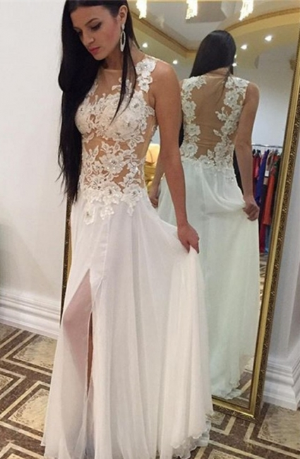 A-Line Sexy Applique Chiffon Prom Dress Beading  Side Slit Formal Occasion Dresses