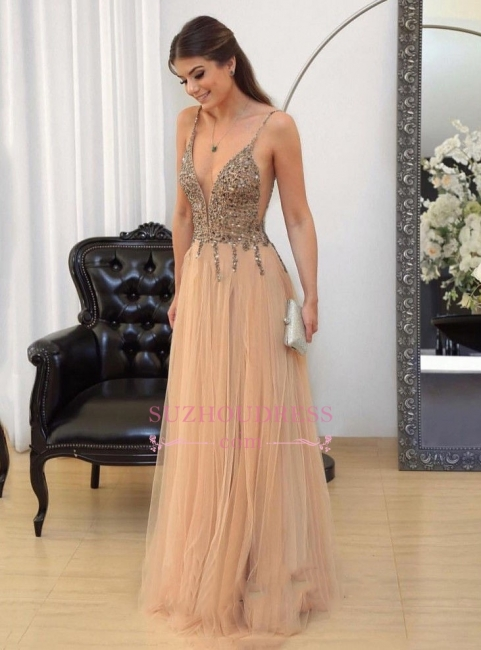Sexy Spaghetti Straps Prom Dresses   Floor-length Long Crystal Evening Gowns