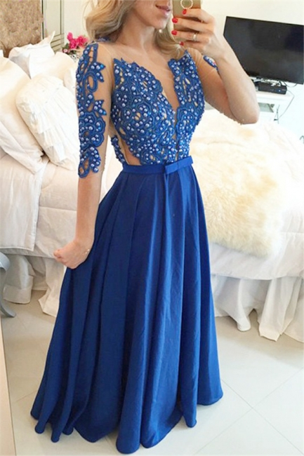 Royal Blue Sleeved Long Prom Dress with Beads Sheer Back Sexy Evening Dress  BMT101