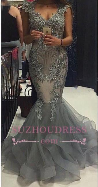 Mermaid V-Neck Tulle Cap Sleeves Crystal Elegant  Evening Dress Open Back Prom Dresses