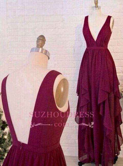 A-line Backless Burgundy Evening Gowns Long Ruffles Chiffon V-Neck Prom Dresses