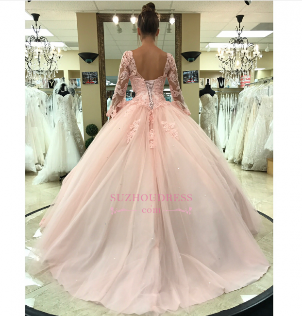 Pink Long Sleeves Lace-Up Evening Dresses | Lace Appliques Open Back Formal Dresses