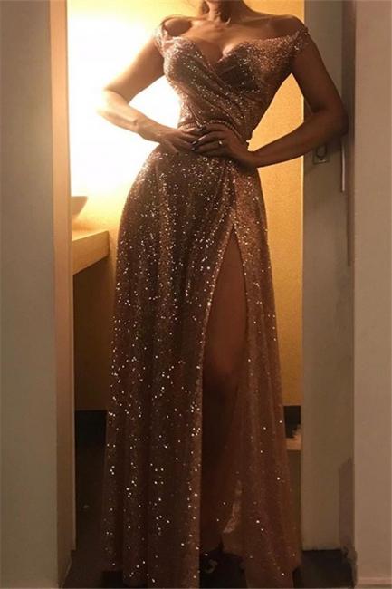 Exquisite A-Line Off-the-Shoulder Long Prom Dress Ruffles Side Slit Sequins Evening Dresses On Sale