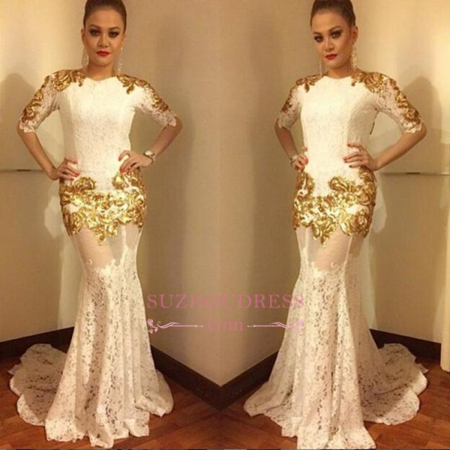 Mermaid Sexy Lace Half Sleeves Evening Gowns  Gold Appliques Prom Dress BA7656