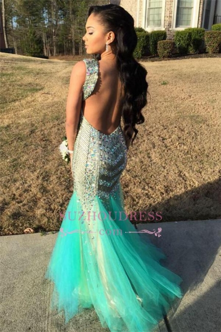 Sleeveless Sparkly Gorgeous Backless Jewel Mermaid Sequins Tulle Beaded Prom Dress