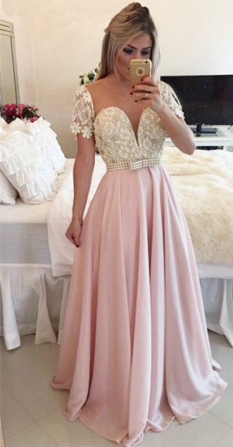 Pink Sheer Tulle  Prom Dress Sheer Back Latest Evening Dress