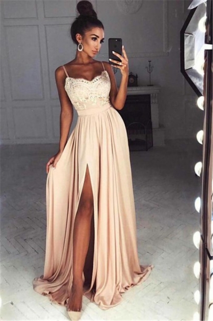 Straps Front Slit Sexy Prom Dress Lace  Champagne Long Evening Dress  BA7097
