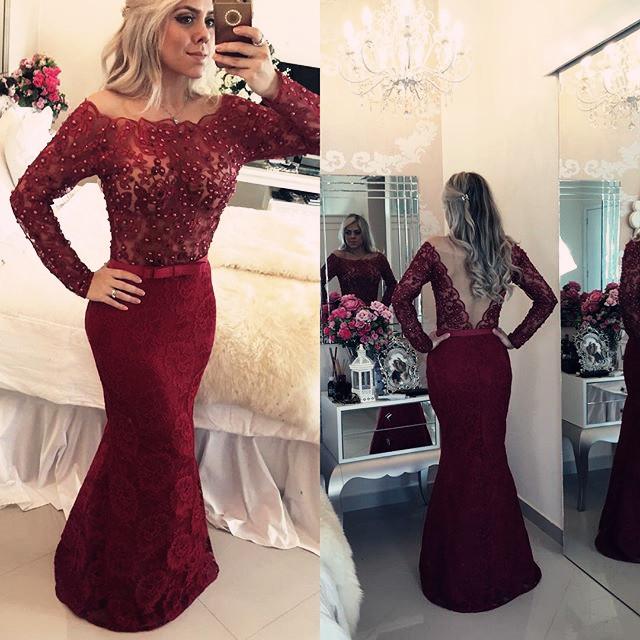 Burgundy Long Sleeve Floor Length Prom Dress Mermaid Lace Beading Evening Gowns