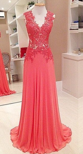 Long Chiffon Lace Prom Dresses Sleevelss V-neck Evening Gowns