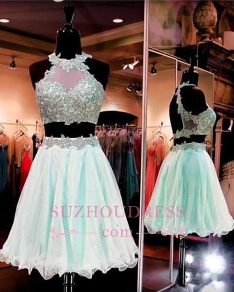 Lace Appliques Two Pieces Homecoming Dresses Sleeveless Halter  Short Party Dress