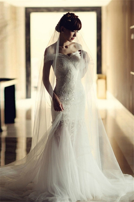White Off-the-Shoulder Sexy Wedding Dresses Cathedral Train Backless Tulle  Bridal Gowns