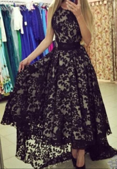 A-Line Black Hi-Lo Lace Prom Dress Latest Custom Made Sleeveless Belt Long Evening Dress BA3906