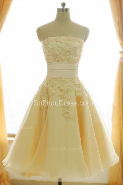 Timeless Short Bridal Dresses Strapless Beading Sequined Crystal Flowers Charming Chiffon Wedding Gowns