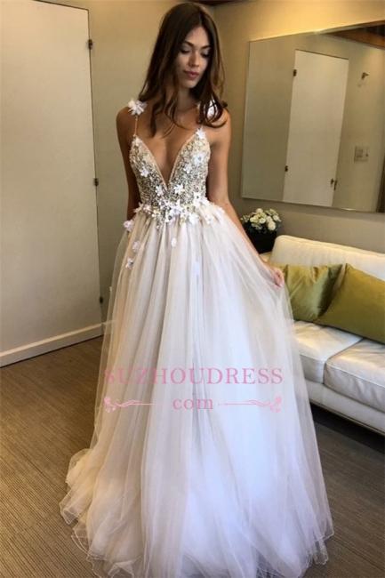 Elegant Sleeveless A-line Evening dresses | V-Neck Tulle Appliques Prom Dress