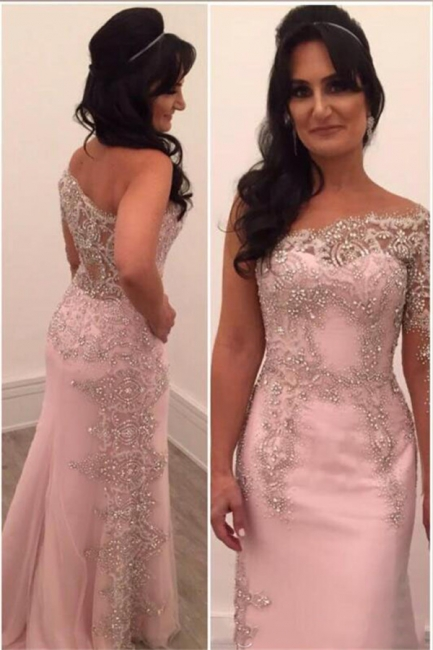 Glamorous One Shoulder Pink Evening Dresses  Appliques Prom Dresses with Beadings