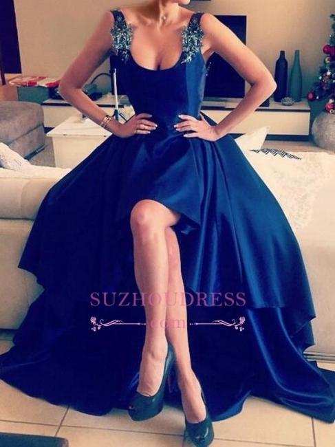 Appliques Open Back Straps Hi-Lo Evening Gown  Blue Sexy Prom Dresses