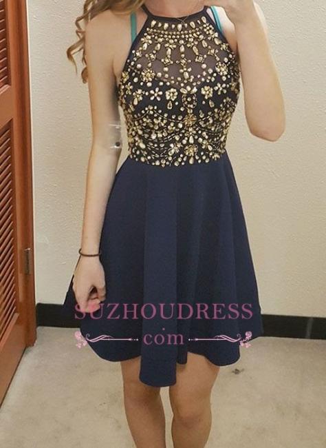 Halter Dark Navy Short Hoco Dress  Gold Crystals Homecoming Dresses