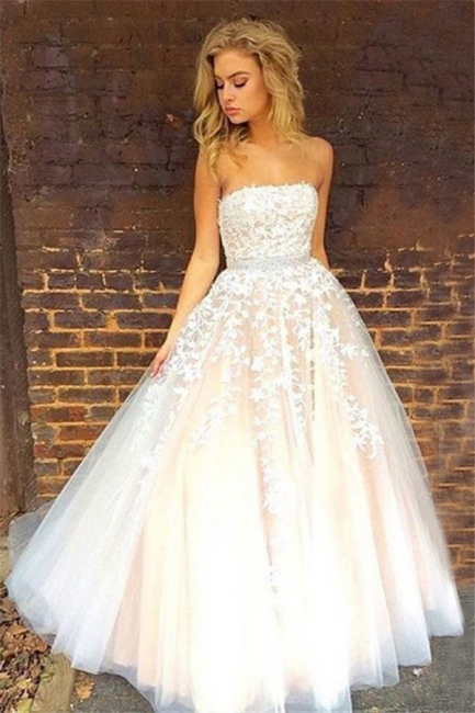 Elegant Srapless A-Line Evening Dresses  Tulle Appliques Prom Dresses