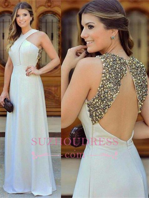 Beautiful Long Zipper Chiffon Beadings Sleevless halter Evening Dress
