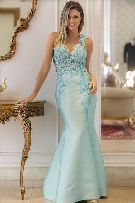 Elegant Straps Sleeveless Sequins Appliques Prom Dress Lace Beading Mermaid Evening Dresses On Sale