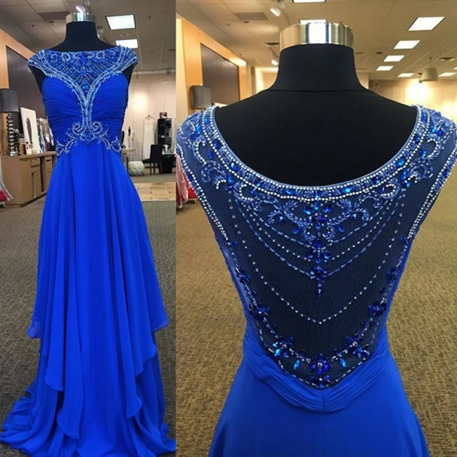 Crystal Blue Chiffon Long Formal Occasion Dresses with Beading Ruffles Empire Prom Dress