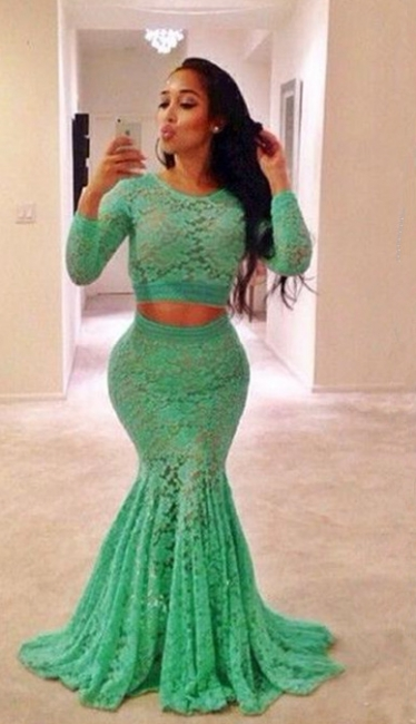 Sexy Green Two Pieces Lace Evening Dress Long Sleeve Mermaid Long Formal Special Occasion Dresses