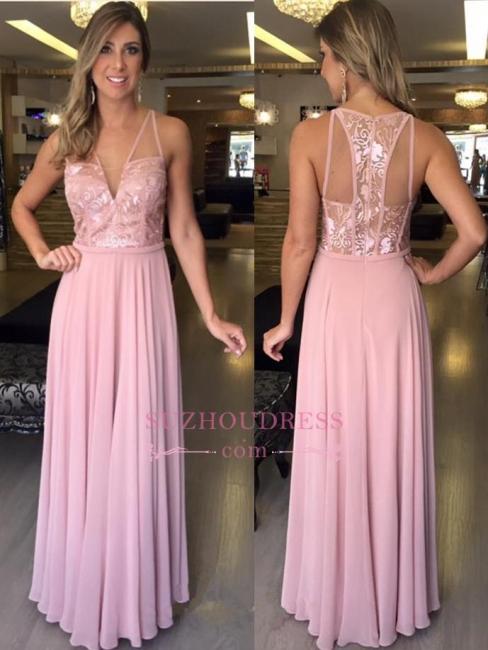 Lace Pink Sleeveless Chiffon Evening Dresses   A-Line Long V-Neck Prom Dresses