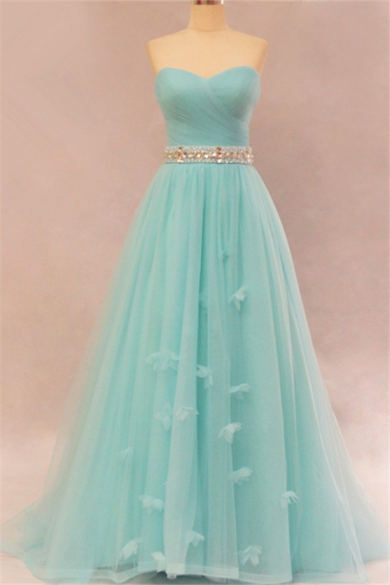 Elegant Sweetheart Ruffles Strapless Evening Dresses  Rhinestone Lace Up Prom Gowns
