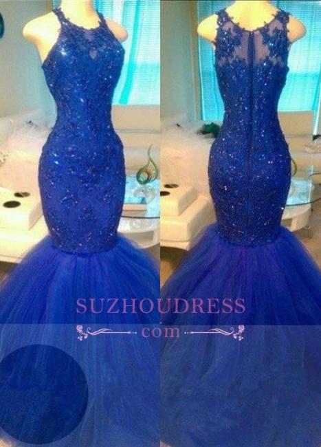 Appliques  Mermaid Elegant Royal-Blue Sleeveless Beadings Tulle Evening Dresses BA6146
