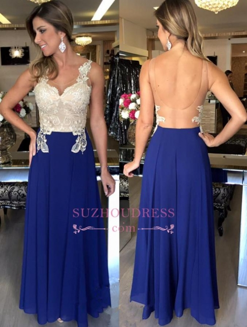 A-Line Applique Open Back Evening Gowns Sleeveless Elegant Prom Dresses