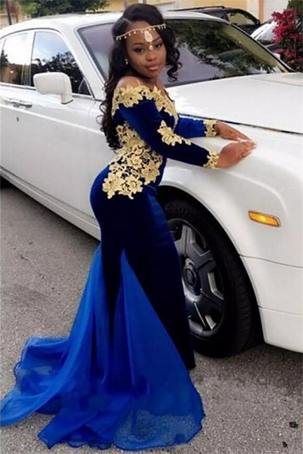 Off The Shoulder Gold Lace Prom Dress |  Royal Blue Velvet Sexy Evening Gown FB0321