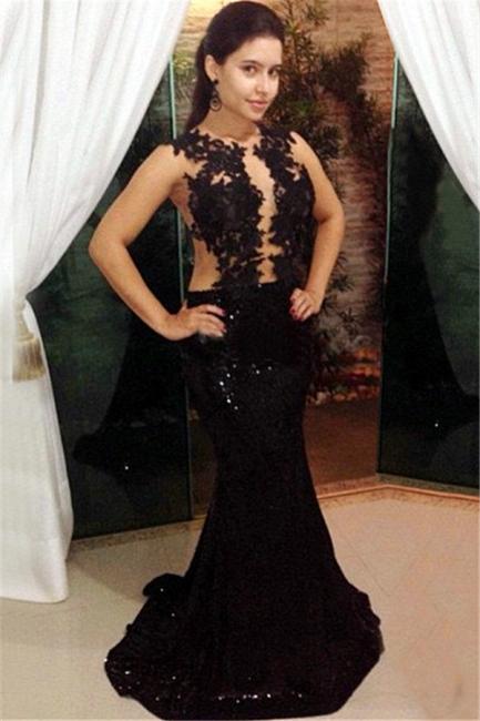 Black Sequin Formal Dresses Illusion Lace Tulle Mermaid Prom Dress BA3967